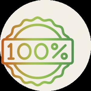 100% badge icon.